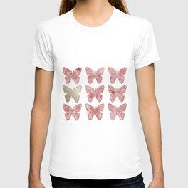 Golden rosy mauve butterflies T-shirt