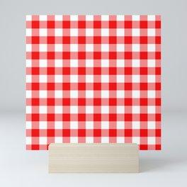 Jumbo Valentine Red Heart Rich Red and White Buffalo Check Plaid Mini Art Print