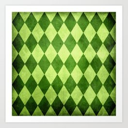 Green Harlequin Grunge Art Print