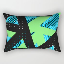 Triangle Theory, No.16 in Blue & Lime Rectangular Pillow