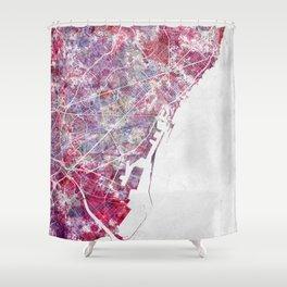 Barcelona map Shower Curtain