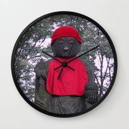 red hat white nose jizo statue Wall Clock
