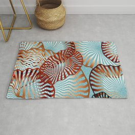 Swirling Metallic Shapes On Baby Blue Clouds Rug