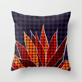 Agave Cactus Warm Autumn Plaid Throw Pillow