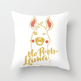 Lama solves problems Throw Pillow