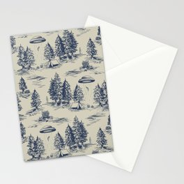 Alien Abduction Toile De Jouy Pattern in Blue Stationery Cards