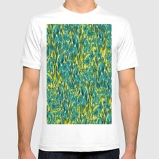 Ikat Floral White MEDIUM Mens Fitted Tee