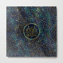 Gemini Zodiac Gold Abalone on Constellation Metal Print