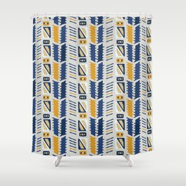 Memphis Style Geometric Abstract Seamless Vector Pattern Yellow And Blue Shower Curtain