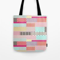 tape Tote Bags featuring Decorative Tape by Louise Machado