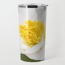 White Krinkled Peony in Bloom Travel Mug