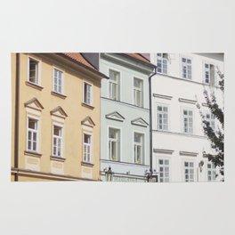 Buildings on a Cobblestone Street in Prague Rug