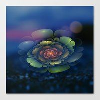 Canvas Prints featuring A Beautiful Fractal Flower 2 by Klara Acel