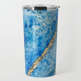 Blue Skies [2]: a pretty, abstract mixed-media piece in blue, gold and white Travel Mug