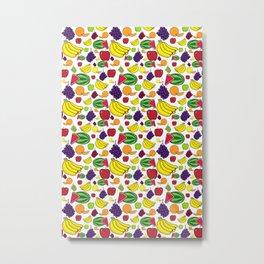 Vibrant Colorful Fruit Illustrations Pattern Metal Print