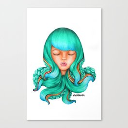 Octopus Hair Girl Canvas Print