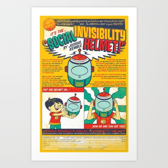 Social Invisibility Helmet Art Print