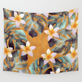 Tropical Monstera Leaf and Plumeria Flower Pattern Wall Tapestry