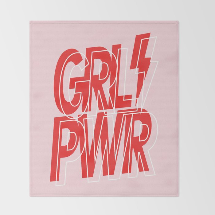 GRL PWR - GIRL POWER (Feminism typography design in red) Throw Blanket