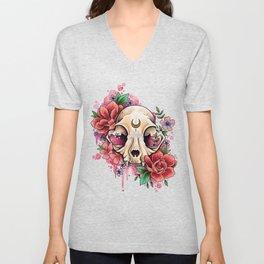 Neo Traditional Cat Skull and Roses Unisex V-Neck