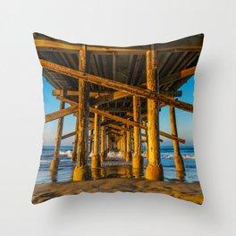 Morning Under Newport Pier Throw Pillow