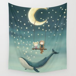 Swing by the moon Wall Tapestry