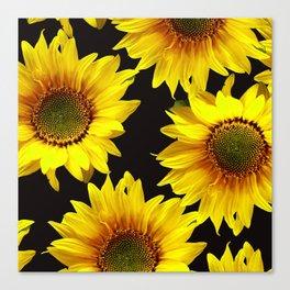 Large Sunflowers on a black background #decor #society6 #buyart Canvas Print