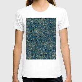 Metallic Monstera Leaves T-shirt