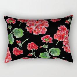 Red Geranium with black background Rectangular Pillow