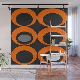 Retro Ovals Print - Orange, Black, Gray and White Wall Mural