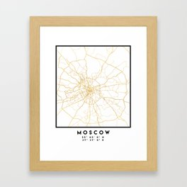 MOSCOW RUSSIA CITY STREET MAP ART Framed Art Print