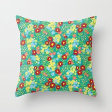Teal Floral Pattern Throw Pillow