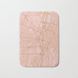 Pink and gold Medellin map, Colombia Bath Mat