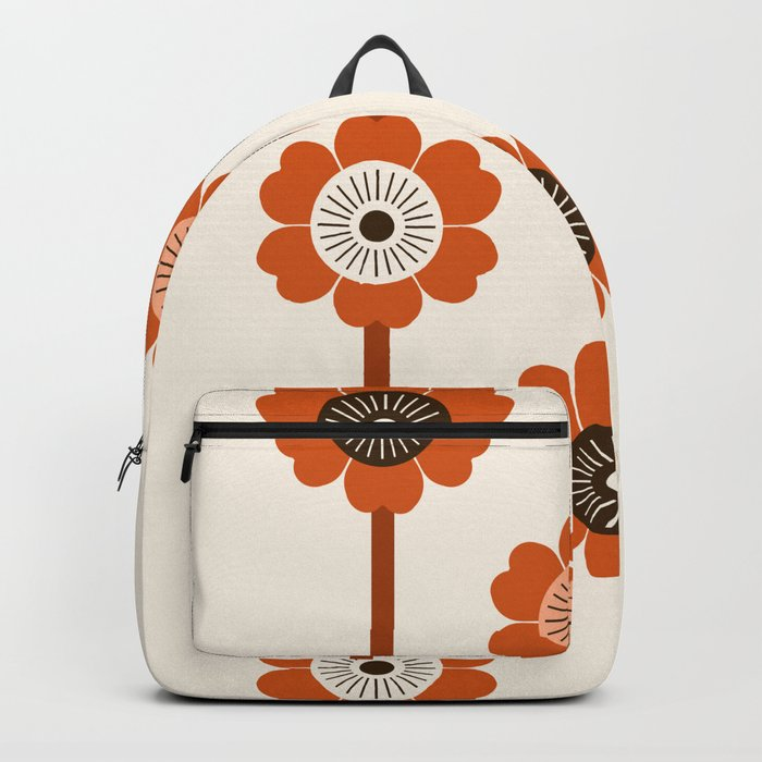 Foxy - 70s style throwback retro flowers floral pattern minimal decor art 1970's Backpack