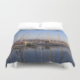 Sail Boats in the Harbor Duvet Cover