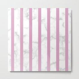 marble vertical stripe pattern baby pink Metal Print