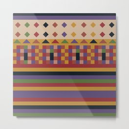 Stripes and squares ethnic pattern Metal Print