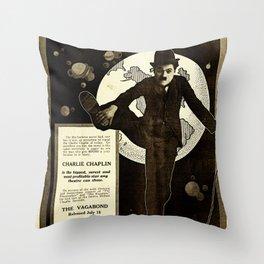 Charlie Chaplin Covers the World Throw Pillow