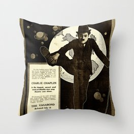 Charlie Chaplin Covers the World Throw Pillow