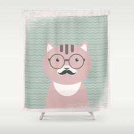 Clever Cat Hipster Mustache Character Shower Curtain