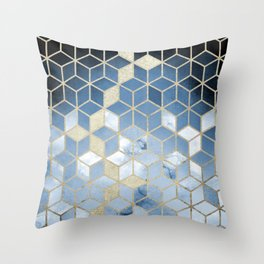Shades Of Blue Cubes Pattern Throw Pillow