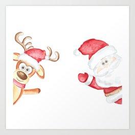 Christmas, Santa Claus and reindeer greet, Merry Christmas Art Print