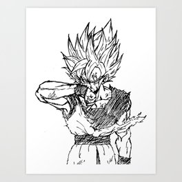 Super Saiyan Son Goku Drawing Art Print