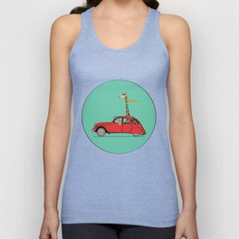 Giraffe 2CV on the wind Unisex Tank Top