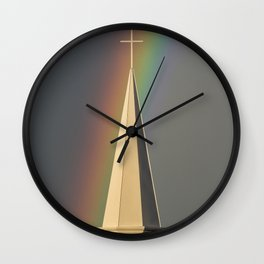 Rainbow & Steeple (Just outside my window) Wall Clock