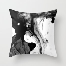 Soft Black Marble Throw Pillow