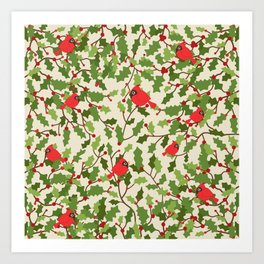 Christmas birds pattern Art Print