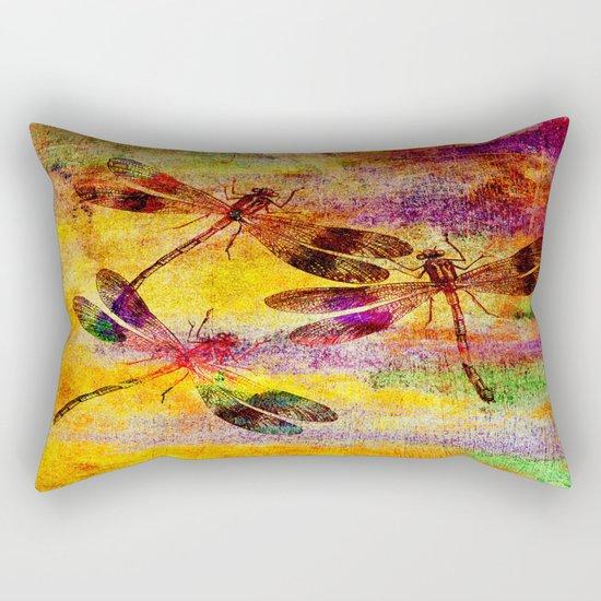 Mauritius Vintage Dragonflies Colours Rectangular Pillow