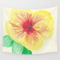 hibiscus Wall Tapestries featuring Hibiscus by merialayne