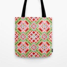 Groovy Folkloric Snowflakes Tote Bag